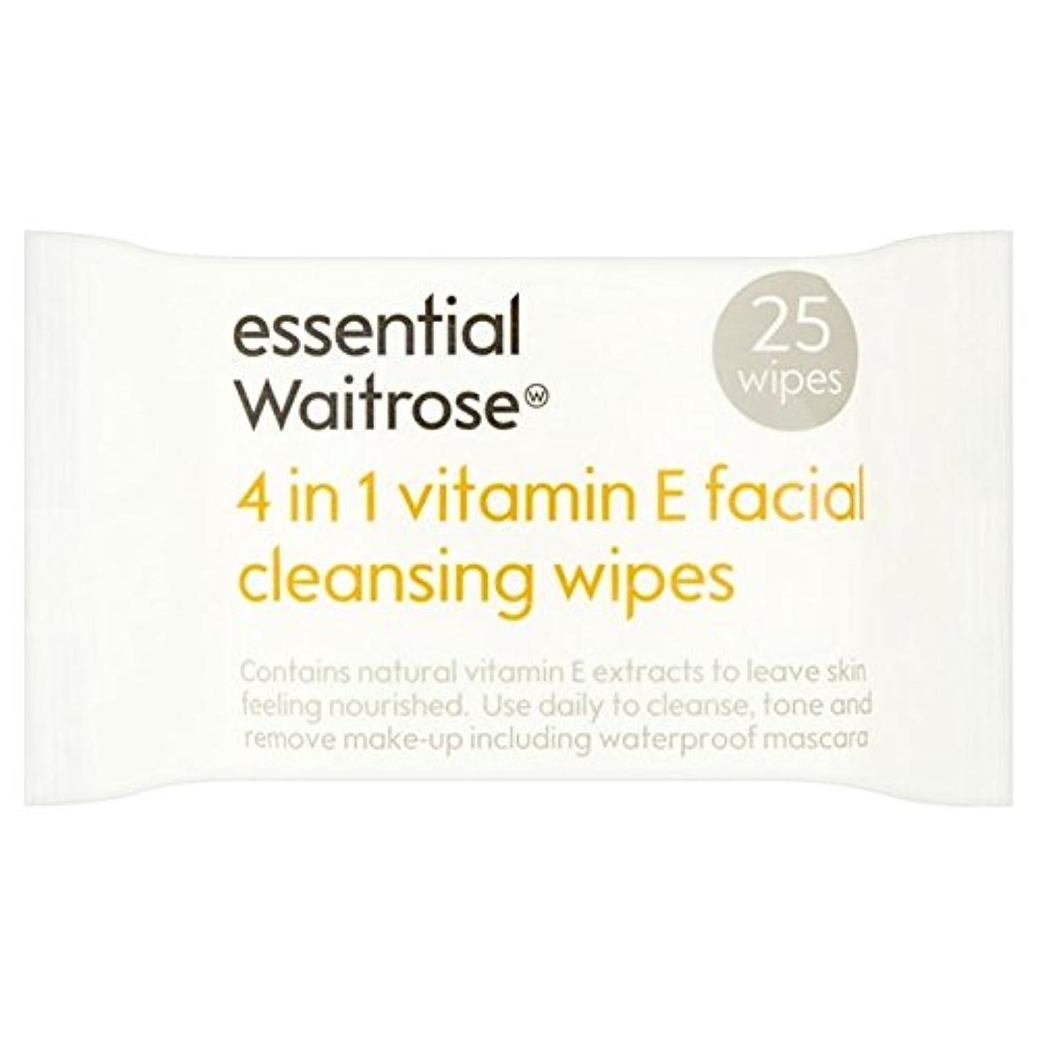 たくさんのどんよりした作物1つのクレンジングで4不可欠パックあたりのビタミンウェイトローズ25ワイプ x4 - Essential 4 in 1 Cleansing Wipes Vitamin E Waitrose 25 per pack (Pack...