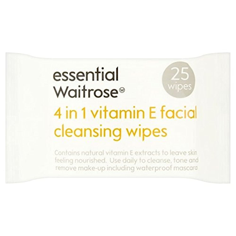 1つのクレンジングで4不可欠パックあたりのビタミンウェイトローズ25ワイプ x2 - Essential 4 in 1 Cleansing Wipes Vitamin E Waitrose 25 per pack (Pack...