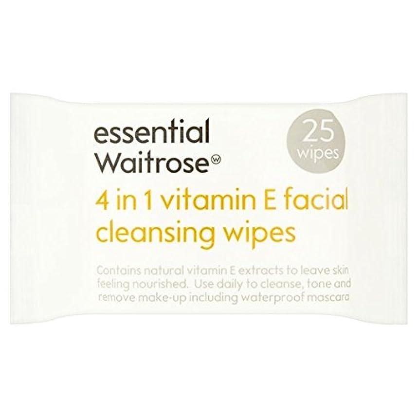 Essential 4 in 1 Cleansing Wipes Vitamin E Waitrose 25 per pack (Pack of 6) - 1つのクレンジングで4不可欠パックあたりのビタミンウェイトローズ...