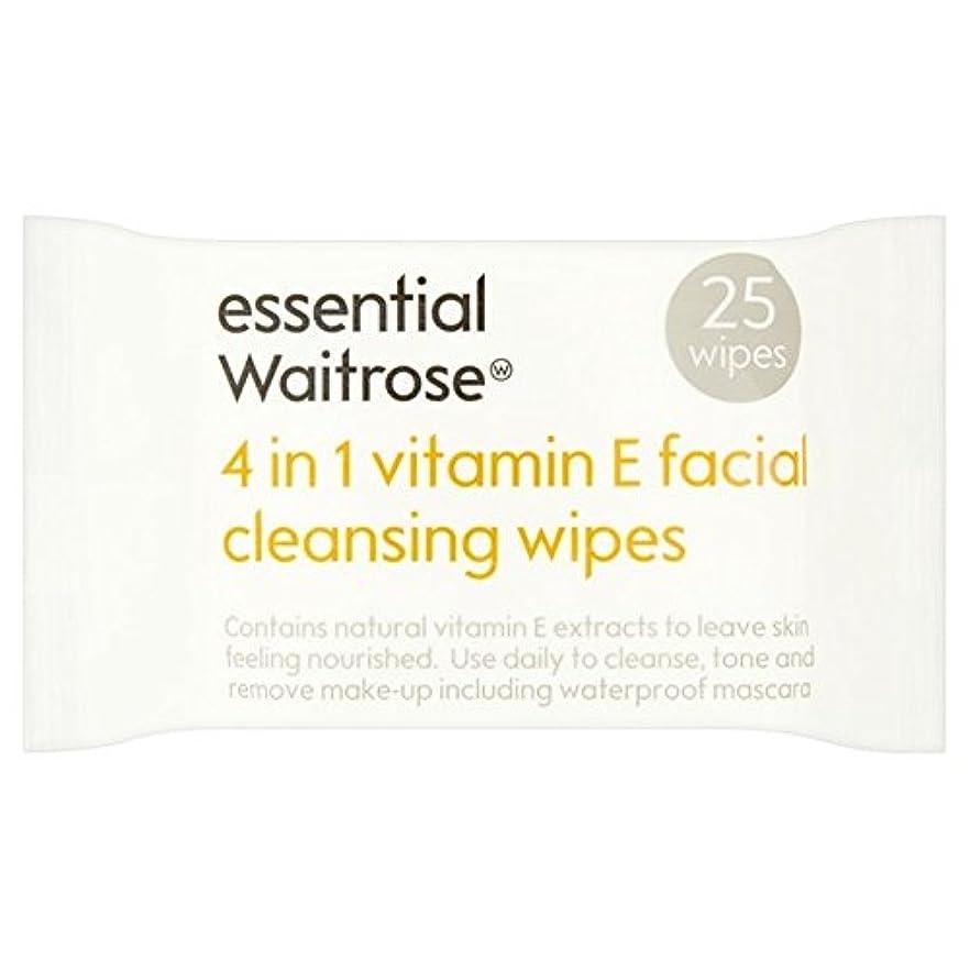 極貧有望普遍的な1つのクレンジングで4不可欠パックあたりのビタミンウェイトローズ25ワイプ x2 - Essential 4 in 1 Cleansing Wipes Vitamin E Waitrose 25 per pack (Pack...