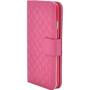 PLATA iPhone7 / iPhone8 ケース 手帳型 キルティング レザー ケース ポーチ iPhone アイフォン 7 8 カバー 【 ビビットピンク ビビッドピンク pink ピンク 】 IP7-5017VP