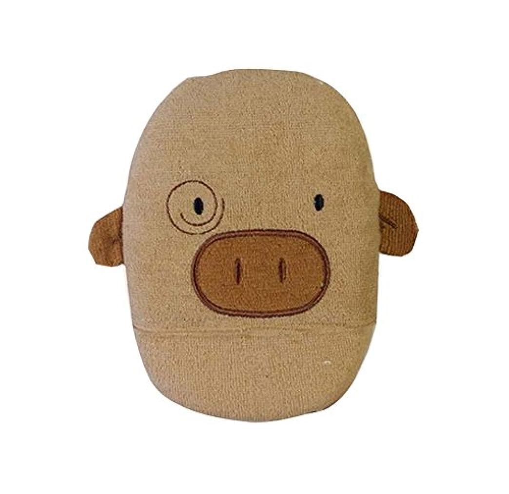 ペフジム洗練された髪を落とさないラブリーピギーの形のベビーバススポンジ、コーヒー