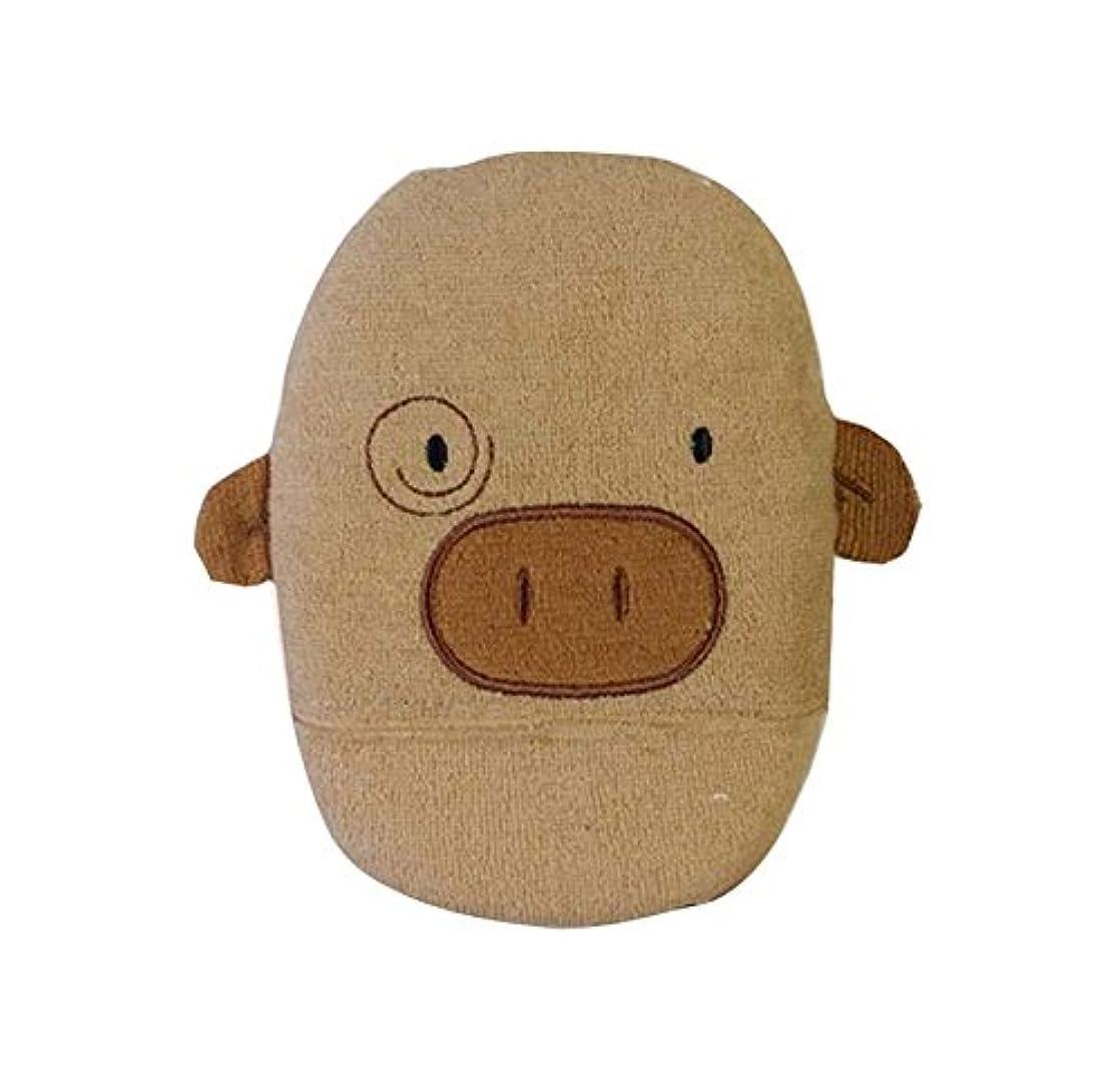 ハムネコメディア髪を落とさないラブリーピギーの形のベビーバススポンジ、コーヒー