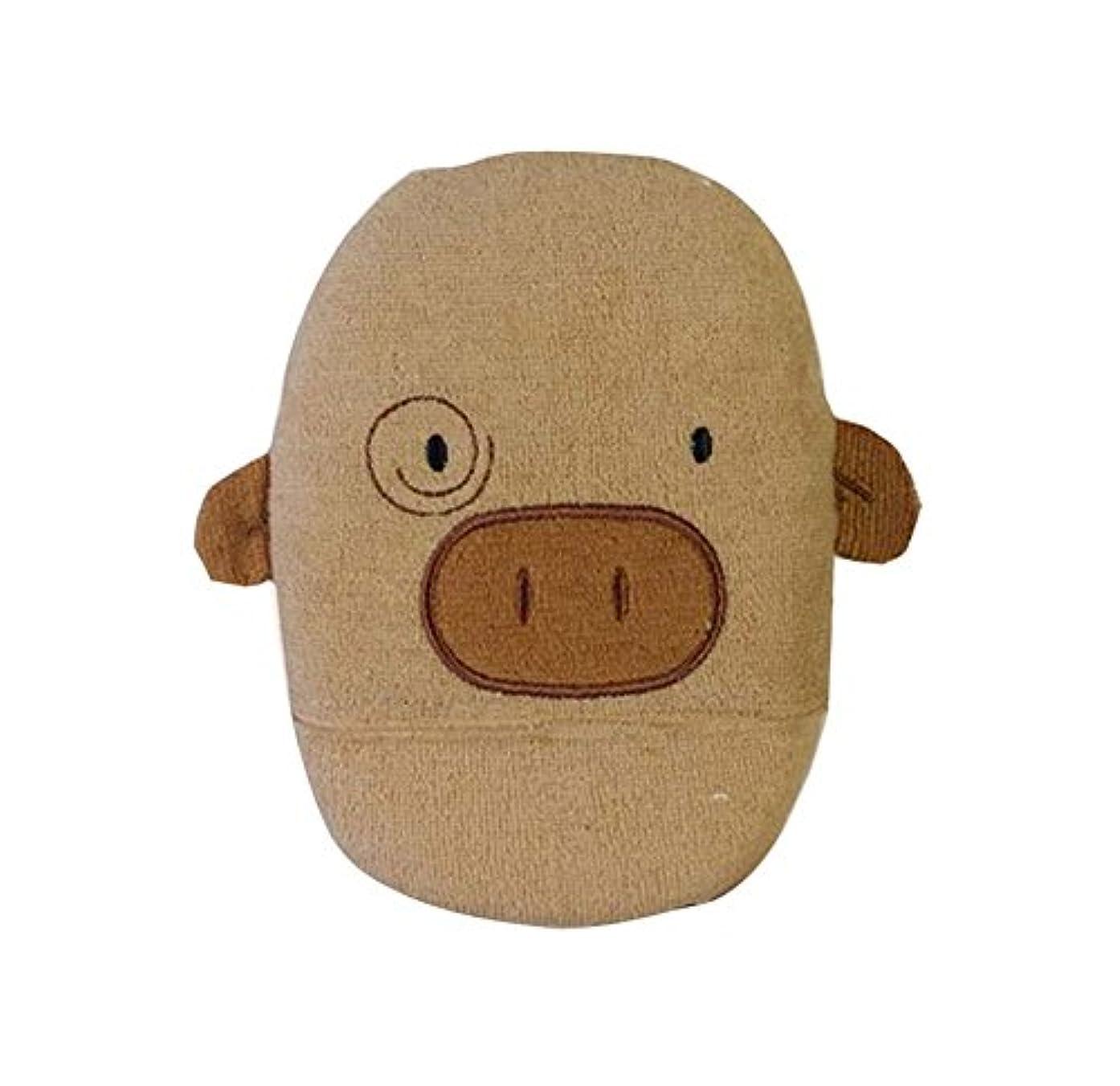 モニカムス結晶髪を落とさないラブリーピギーの形のベビーバススポンジ、コーヒー