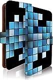 g08 ケース 手帳型 グラフィック ブルー モザイク柄 ジー 手帳型ケース 手帳型カバー 格子柄 チェック [グラフィック ブルー/t0678]