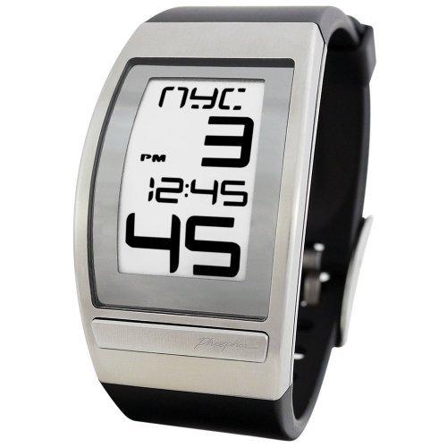 時計 Phosphor Men's WC01 World Time Curved E-INK Black Polyurethane Strap Watch メンズ 男性用 [並行輸入品]