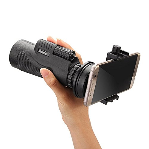 POTOJP 単眼鏡 望遠鏡 セット 12x50倍 ズーム 三脚 クリップ付属 視野1600M-9600M 360度回転 横幅調節可 取付簡単 脱落防止 軽量 携帯型 多機種対応 耐震望遠鏡 ブラック 望遠鏡 小型 望遠鏡 コンサート アウトドア/旅行/観光/観察用