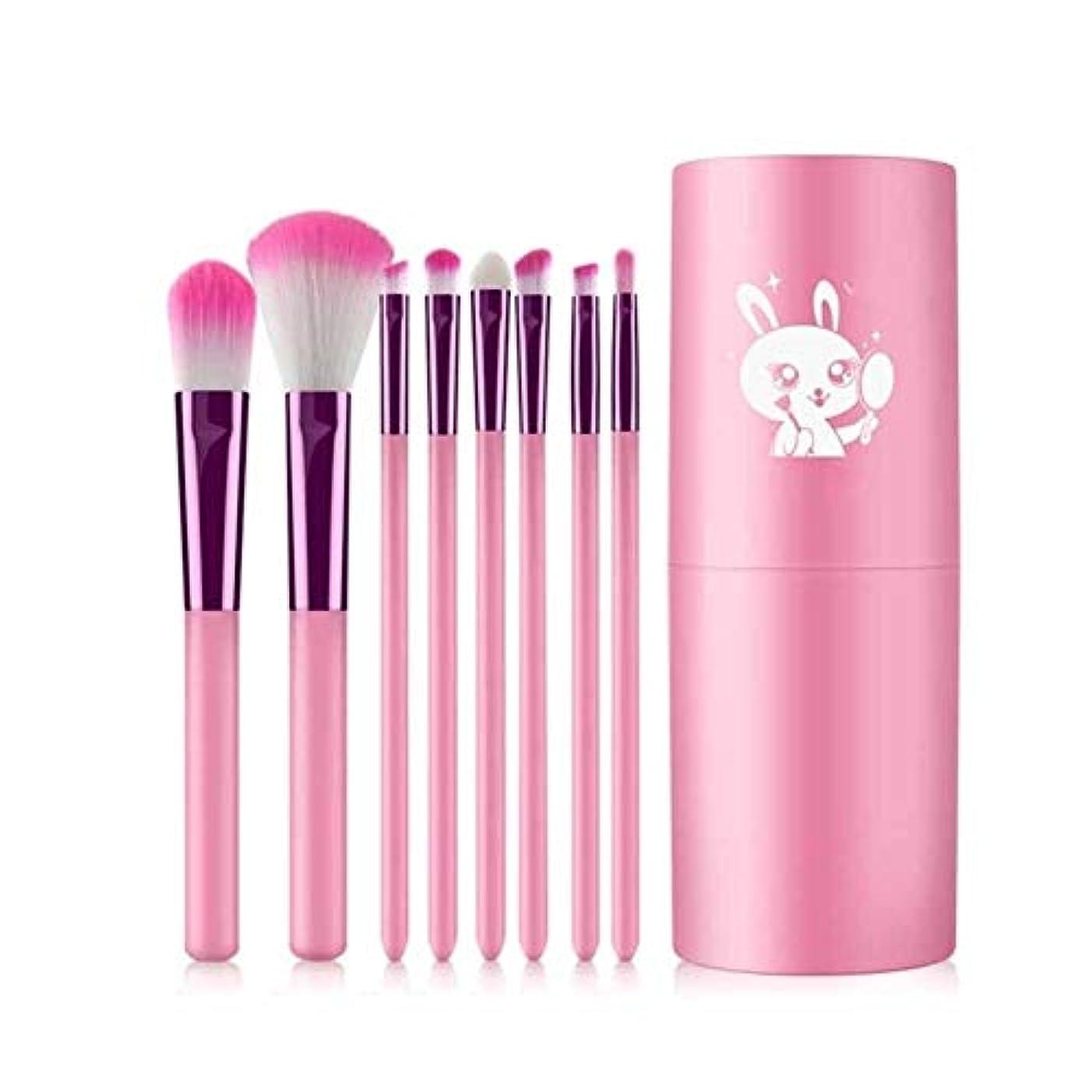 爆発許される抗生物質XIAOCHAOSD メイクブラシ、ファイバーソフトヘアーメイクブラシ、シリンダーセットメイクツール、ブラッシュブラシアイシャドウブラシメイクブラシ、8パック、ピンク (Color : Pink)