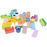 B Baosity 高品質 子供の教育 おもちゃ セット 積み木 木製動物 スタッキング 32個  贈り物