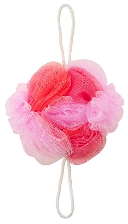 ガラスマッサージ野ウサギマーナ ボディースポンジ 「背中も洗えるシャボンボール フラワー」 ピンク B588P