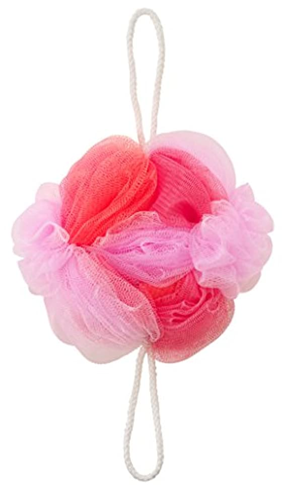 南西花に水をやるロータリーマーナ ボディースポンジ 「背中も洗えるシャボンボール フラワー」 ピンク B588P