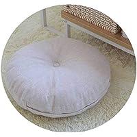 リネン布団クッションは、ラウンドファブリック床瞑想和風バルコニー窓の畳のクッション,ベージュウォッシャブル,直径40cm、厚さ15cm