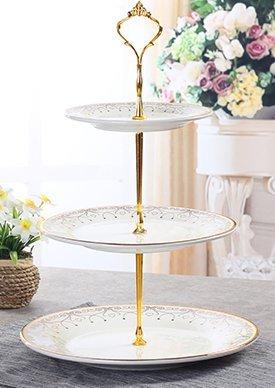 [EALLIFE] アフタヌーンティー セット 金枠プレート皿 3枚皿付 3段スタンド (3段皿スタンド)