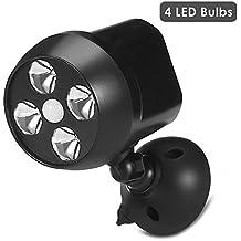 Motion Sensor LightOneflower IR Motion Sensor LED SpotlightSuper Bright Night LightSecurity Outdoor Light with 600 Lumens & 4 LED BulbsWeatherproof SafeUpgrade Version (Black)