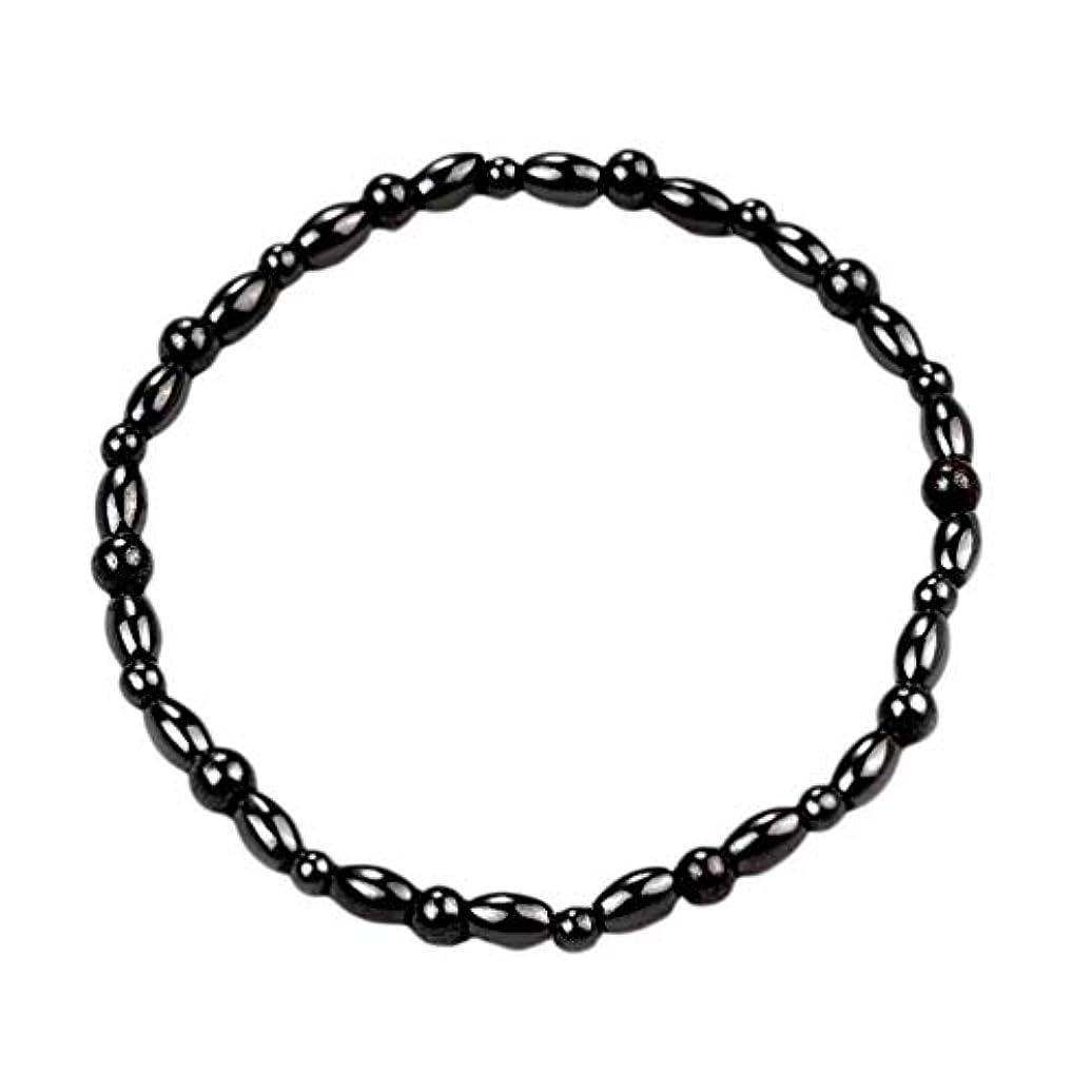 ファッション磁気石脚アンクレットブレスレット男性女性黒足首ブレスレットギフトを失う重量足ブレスレットジュエリー - ブラック