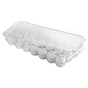 InterDesign 冷蔵庫用 卵入れ エッグ 収納 ホルダー 21個用 蓋付き Fridge Binz クリア 72930EJ