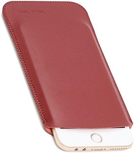 V.M 5.5 / 4.7インチ スリーブケース レザー スリップイン スマホケース [高品質高性能] 軽 薄 皮 革 4.7 スマホ スリーブ ケース iPhone 7 8 スリップインケース スリップケース スリップ インケース イン ポーチ 袋 携帯ケース マット レッド iPhone8 赤 艶消