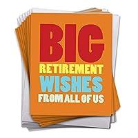 """Big Retirement Wishグリーティングカード(10パック)–Funny Congratulations & Happy Farewellカード–ジャンボギフト感謝のカード封筒付き–ボス、先生、Coworker (8.5"""" X 11"""") # j2734rtg-j10X 1-us"""