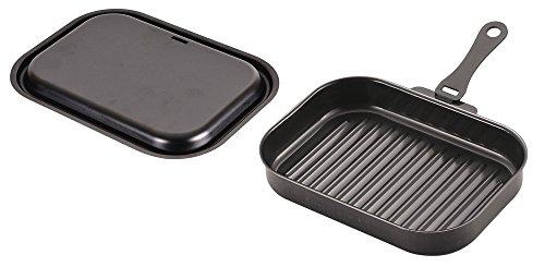 パール金属 日本製 グリルパン ブラック 25 × 17 ㎝ 鉄製 蓋 ハンドル 簡単 レシピ付 角型 ウェーブ ラクッキング HB-3994