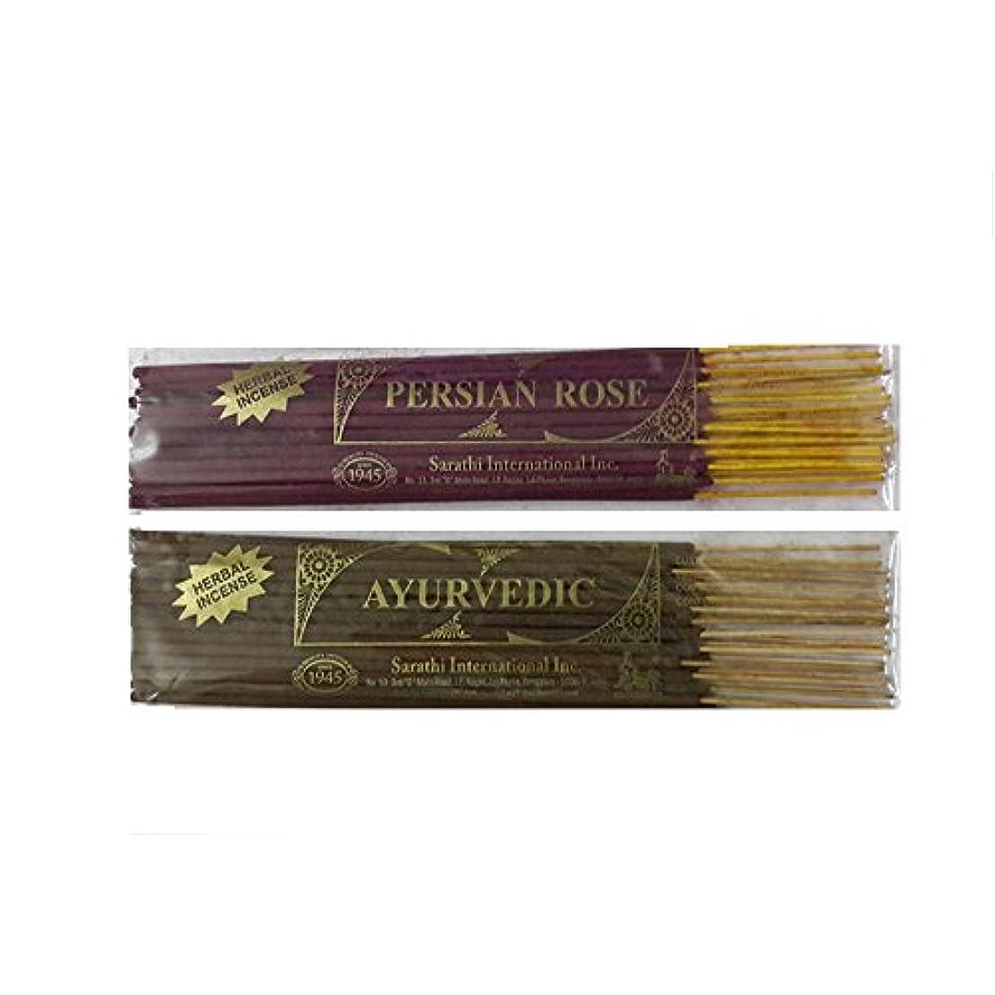 とらえどころのないリラックスカールPersian Rose and Ayurvedic Incense Sticks , 50ミリグラム – 2のセット