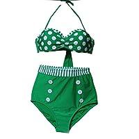 Nunubee グリーン ポリエステル 女子 水着 女の子 女の人 ビキニ  セクシー水着 海辺 ビーチ  M