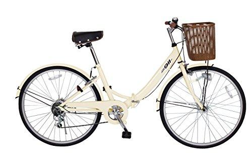 ミムゴ(MIMUGO) ノーパンク26インチシティサイクル折畳自転車 FDB26 シマノ製6段ギア搭載 MG-CCM266N オフホワイト