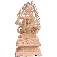 栗田仏像ブランド【明王】不動明王座像2.5寸(総高23.5cm、幅11cm、奥行き9cm)火炎光背四角岩台 桧木製高級木彫り 1114