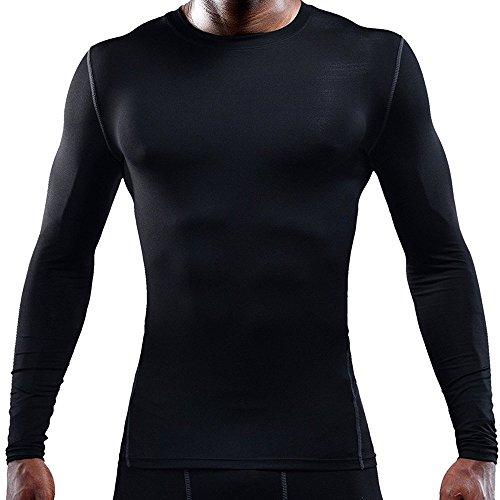 LeoSport 男性 機能性 腹筋 脂肪燃焼 スポーツ姿勢補助 吸汗速乾 長袖 Tシャツ (XXL, ブラック)