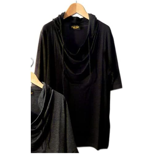 Clack メンズ Tシャツ / フード付き 無地 ドレープ カットソー トップス 5分袖 ブラック Free [ ビスコース100% ] 【正規品】