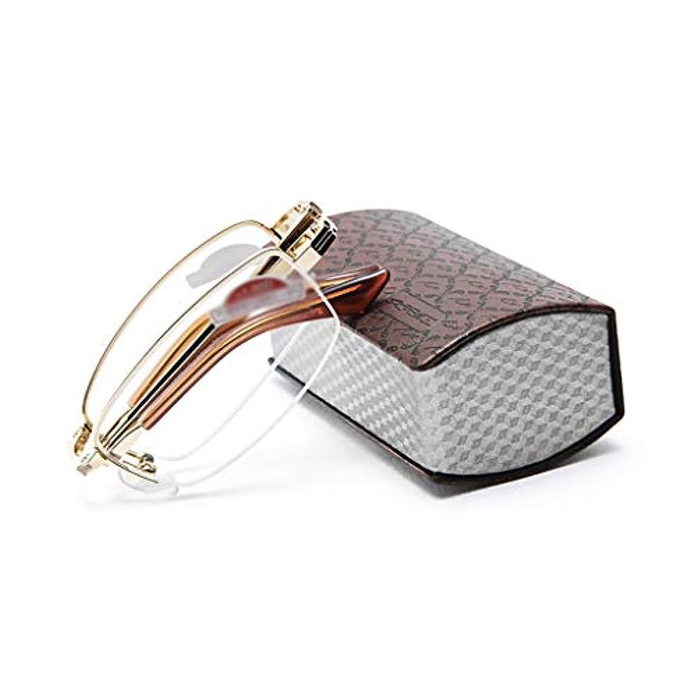 料理をするシャンパン文明ポケットトラベルケース1.5(または1?3)で老眼鏡を折る読み取り光学 - プレミアムレンズ付きメンズ/レディースコンパクト折りたたみ式眼鏡