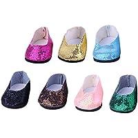 Lovoski  7ペア かわいい 人形 靴 スパンコール スニーカー 18インチ アメリカンガールドール適用