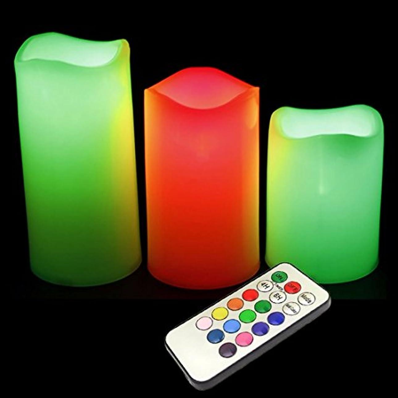 苦慢性的食い違いFlameless Colour Changing Candles (3 candles that mimics a real candles) with Remote Control & Timer (Made With Real Wax)