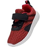 DADAWEN Boy's Girl's Lightweight Breathable Sneakers Strap Athletic Running Shoes Wine Red US Size 11.5 M Little Kid