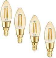 WiZ Smart Tunable Whites LED Filament Globe - C35 E14 Amber Glass - 420lm - Pack of 4 - 2000k~4500k - WiFi - N