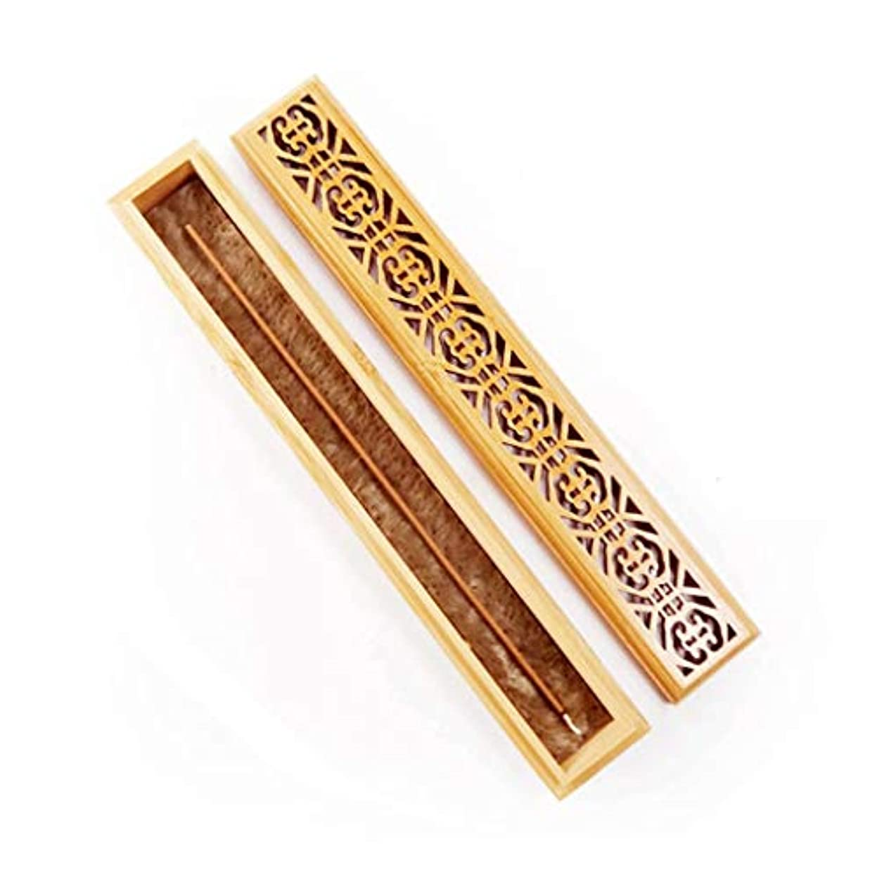 スローガン遺伝子バーマドヴィンテージ長方形の竹香炉中空パターン絶妙なふた香スティックホルダー灰キャッチャーホーム香ホルダー (Color : Wood, サイズ : 9.29*1.45*1.02inchs)