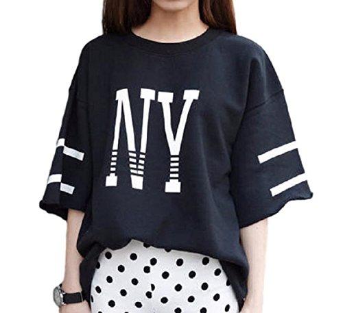 kazan NY HIPHOP 半袖 レディース BIG Tシャツ (05 ブラック L)
