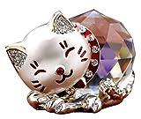 [S.fields.inc] クリスタル 猫 水晶 金運 風水 猫 かわいい 招き猫 金の箱 猫グッズ (シルバー)