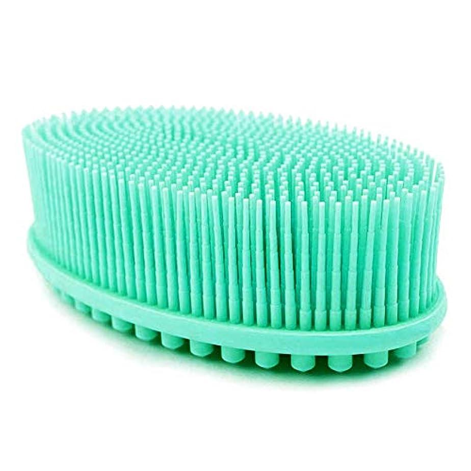 美人気難しい密度ボディブラシ 両面両用ブラシ シリコン製シャワーブラシ バス用品 お風呂ブラシ角質除去 美肌効果 血液循環を改善し、健康と美容に良い, 緑