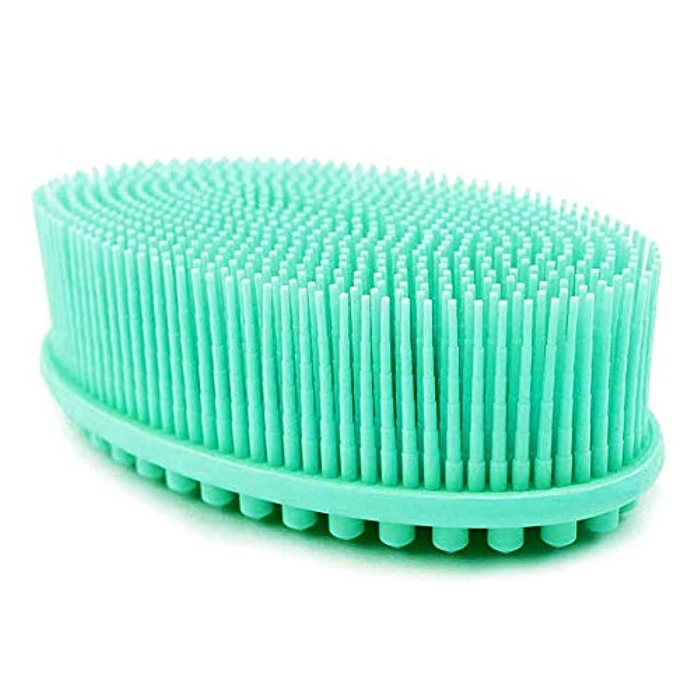 ローンナビゲーション電子レンジボディブラシ 両面両用ブラシ シリコン製シャワーブラシ バス用品 お風呂ブラシ角質除去 美肌効果 血液循環を改善し、健康と美容に良い, 緑
