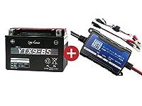 バイクバッテリー充電器+YTX9-BSセット■■GSユアサ(YUASA)【長寿命・保証書付】【日本語説明書付き】
