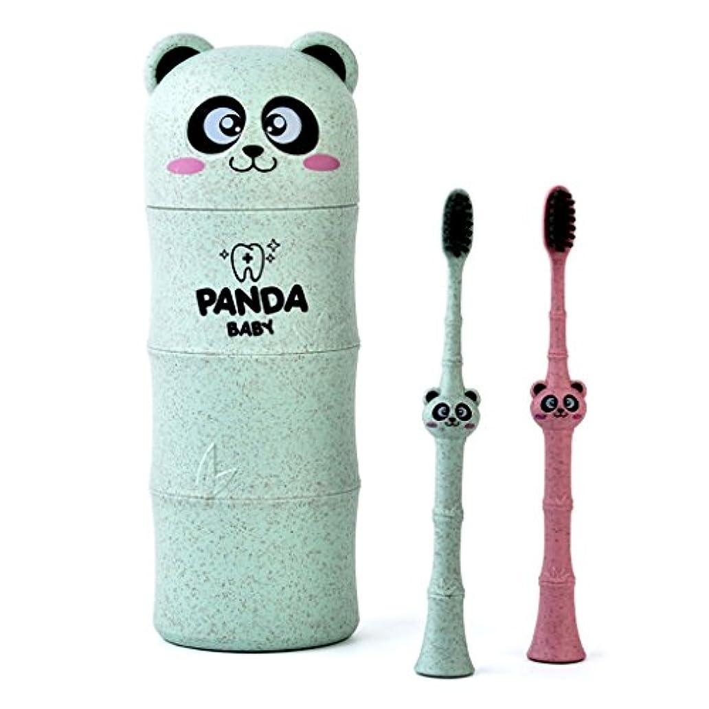 薄いです昼寝費用Manyao 1セットベビー歯ブラシ小麦ストロー漫画パンダ幼児子供歯科口腔ケア (グリーン)