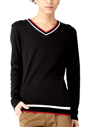 (ベストマート)BestMart トリコロールカラー Vネック カットソー Tシャツ メンズ 秋 冬 605628