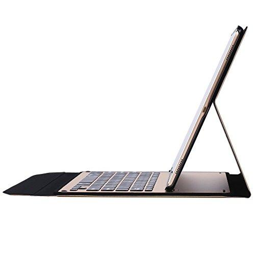 PopSky iPad Pro 10.5 キーボードカバー 全2色 【2017 新型】iPad Pro 10.5 Bluetooth キーボードケース 脱着式 スタンド機能付き 超薄 iPad 10.5用 保護ケース Bluetooth keyboard case (iPad Pro 10.5, ゴルード)