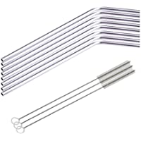 8 Pcs Stainless Steel Metal Drinking Straw Reusable Straws + 3 Cleaner Brush Kit by A-store