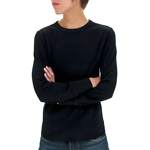 (アヴィレックス) AVIREX Tシャツ メンズ ブランド 長袖 ロンT クルーネック 無地 サーマル ワッフル 秋 4color LL ブラック