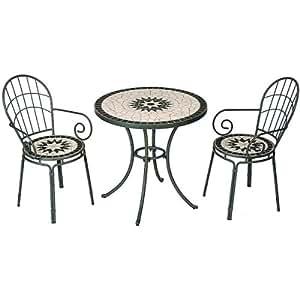 タンジール モザイク 3点セット マットグリーン (テーブル1台、チェアー2脚)