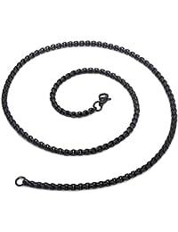 Golastartery ファッションブラックチタン鋼平方ビーズ鎖ネックレス