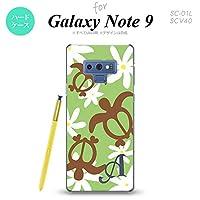 SC-01L SCV40 Galaxy Note9 スマホケース カバー ホヌ ティアレ 緑 【対応機種:Galaxy Note9 SC-01L SCV40】【アルファベット [W]】