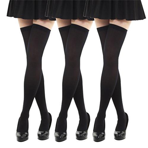 【OZ】 ニーハイ 3足セット 着圧 オーバーニーソックス スッキリ 美脚 (ブラック)