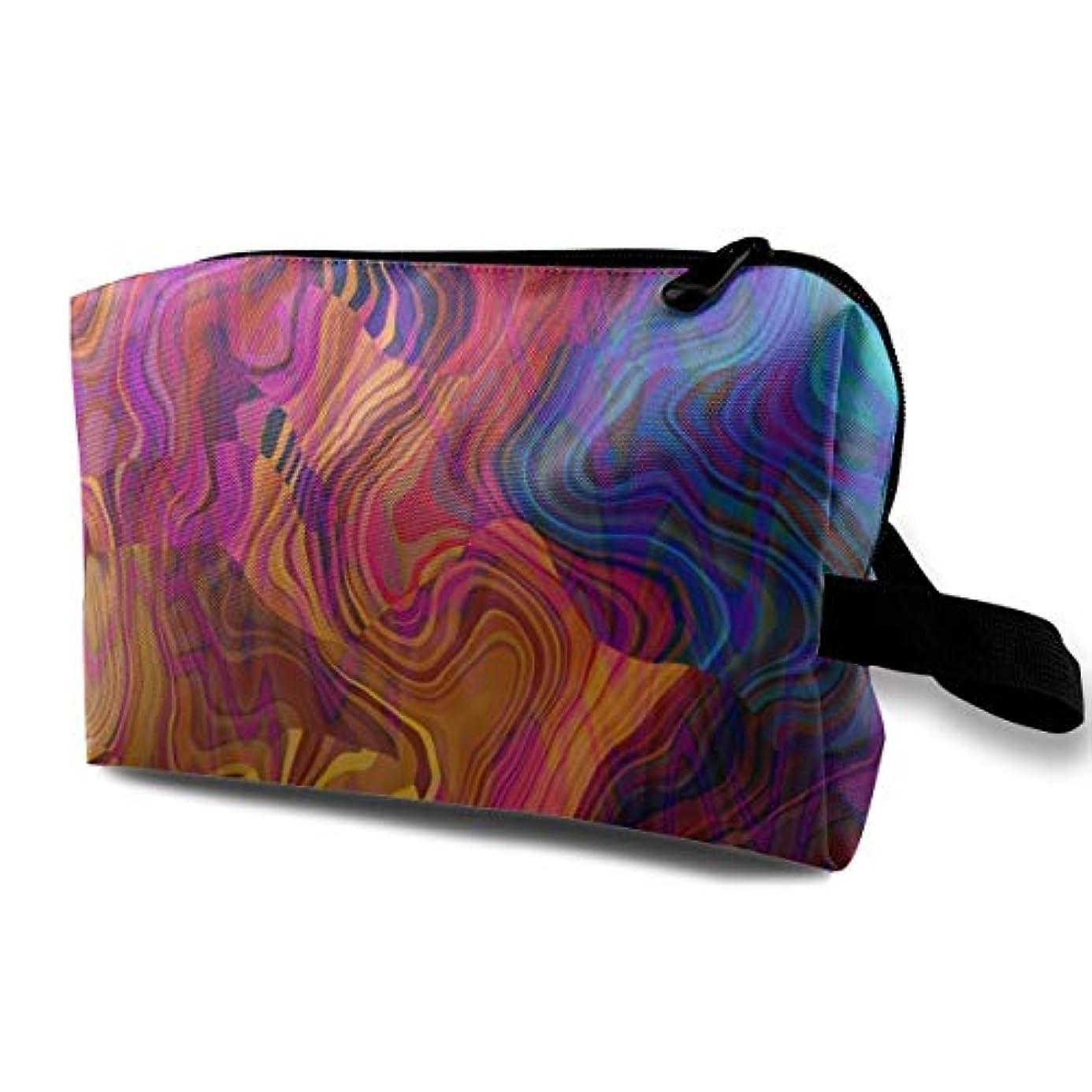 気楽なモニターシリングColorful Chaotic Waves 収納ポーチ 化粧ポーチ 大容量 軽量 耐久性 ハンドル付持ち運び便利。入れ 自宅?出張?旅行?アウトドア撮影などに対応。メンズ レディース トラベルグッズ